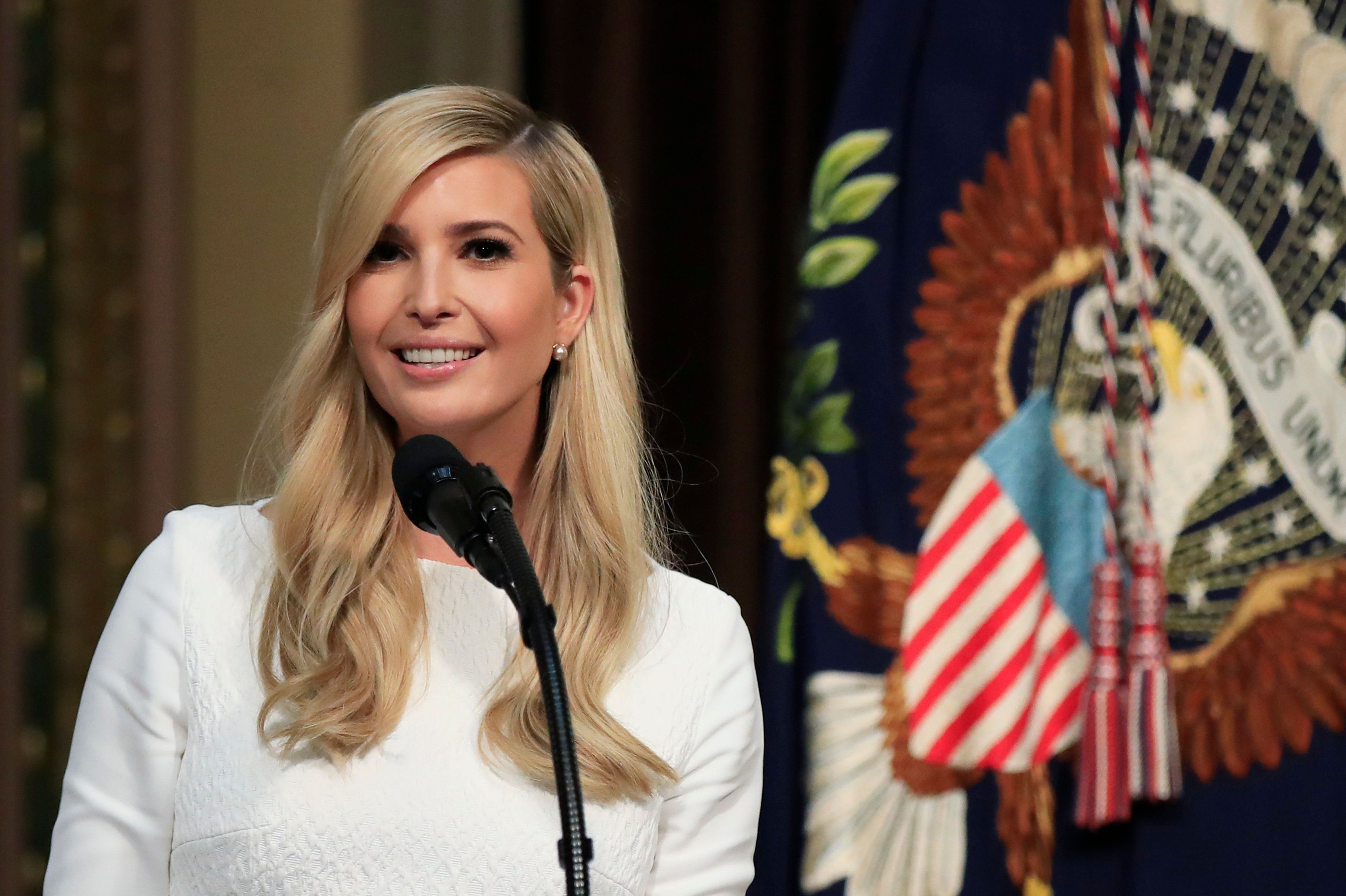 Ivanka Trump introduces her father President Donald Trump during the Interagency Task Force to Monitor and Combat Trafficking in Persons annual meeting at the Eisenhower Executive Office Building on the White House complex in Washington, Thursday, Oct. 11, 2018. (AP Photo/Manuel Balce Ceneta)