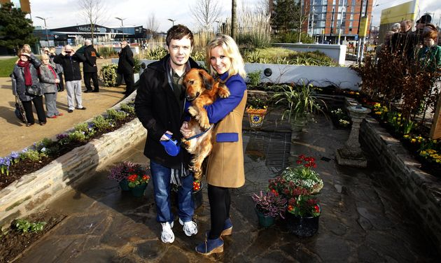 Blue Peter presenters Helen Skelton and Barney Harwood, with Barney the Dog after The Princess Royal...