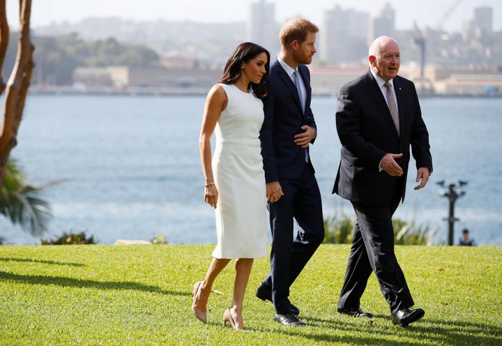 The Duke and Duchess of Sussex with Australia Governor-General Peter Cosgrove on the grounds of Admiralty House in Sydney.