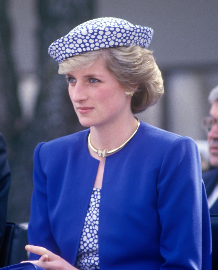 Charles, Prince of Wales, and Diana, Princess of Wales, visit Canada on May 4, 1986. Diana is wearing a Catherine Walker suit and a hat by Graham Smith.