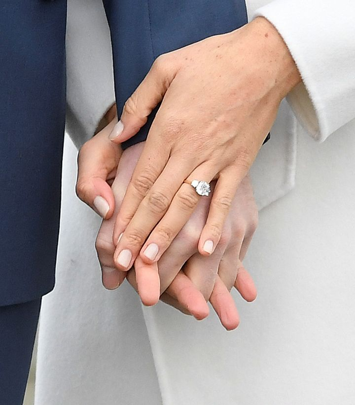A close-up view of Meghan Markle's engagement ring.