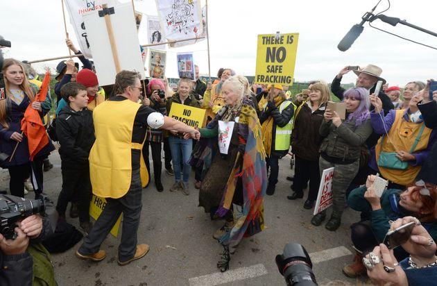Fashion Designer Dame Vivienne Westwood Performs Protest Dance At Fracking
