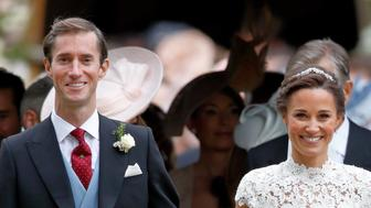 ENGLEFIELD GREEN, UNITED KINGDOM - MAY 20: (EMBARGOED FOR PUBLICATION IN UK NEWSPAPERS UNTIL 48 HOURS AFTER CREATE DATE AND TIME) James Matthews and Pippa Middleton leave St Mark's Church after their wedding on May 20, 2017 in Englefield Green, England. (Photo by Max Mumby/Indigo/Getty Images)