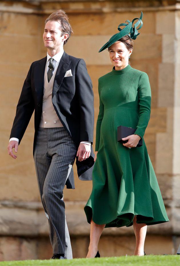 James Matthews and Pippa Middleton attendthe wedding of Princess Eugenie of York and Jack Brooksbank...