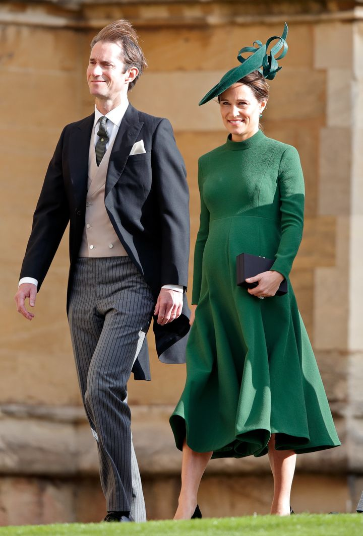 James Matthews and Pippa Middleton attend the wedding of Princess Eugenie of York and Jack Brooksbank at St. George's Chapel on Oct. 12 in Windsor.