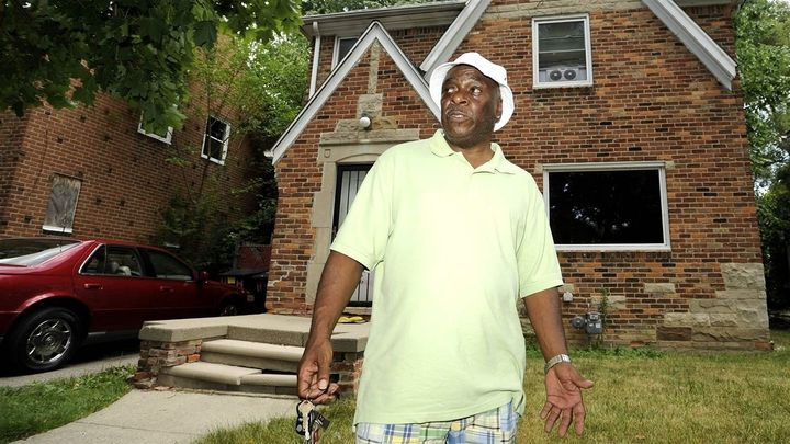 Homeowner Walter Hicks at his Detroit house, in a neighborhood where home prices are lower than they were in 2000, like almos