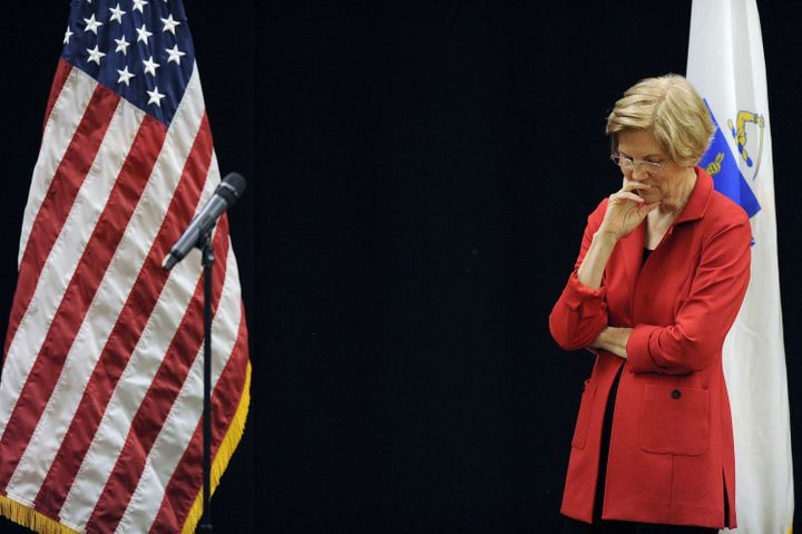 U.S. Senator Elizabeth Warren (D-MA) takes questions during a town hall meeting on Oct. 13, 2018.