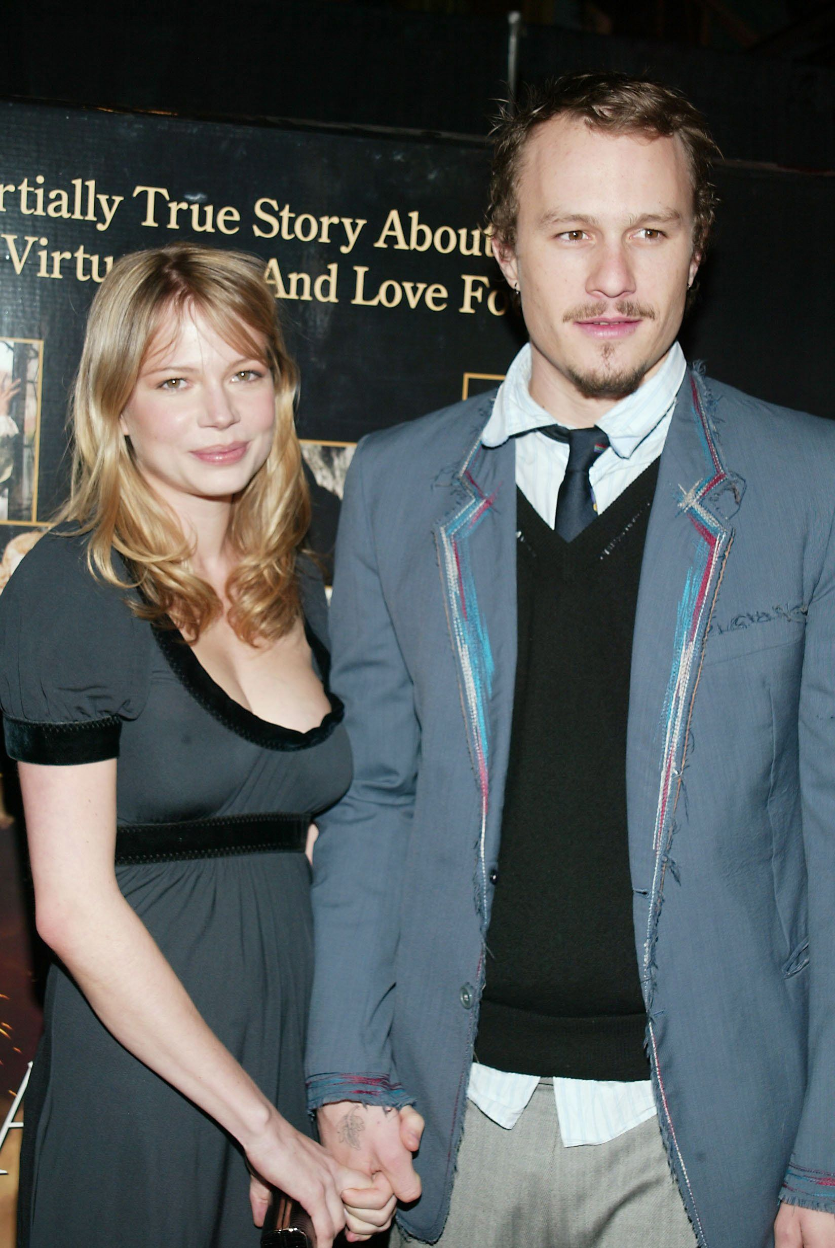"""Michelle Williams and Heath Ledger at the """"Casanova"""" premiere in New York City in 2005. They amicably split in 2007."""