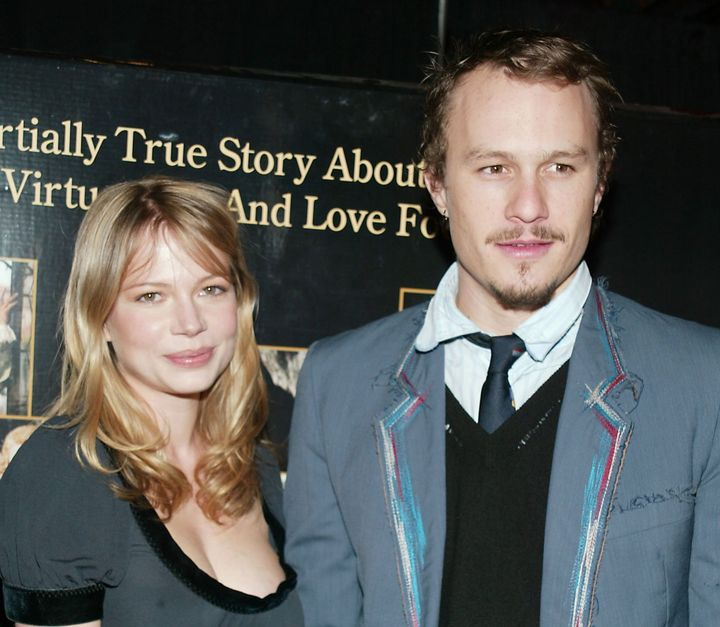 "Michelle Williams and Heath Ledger at the ""Casanova"" premiere in New York City in 2005. They amicably split in 2007."