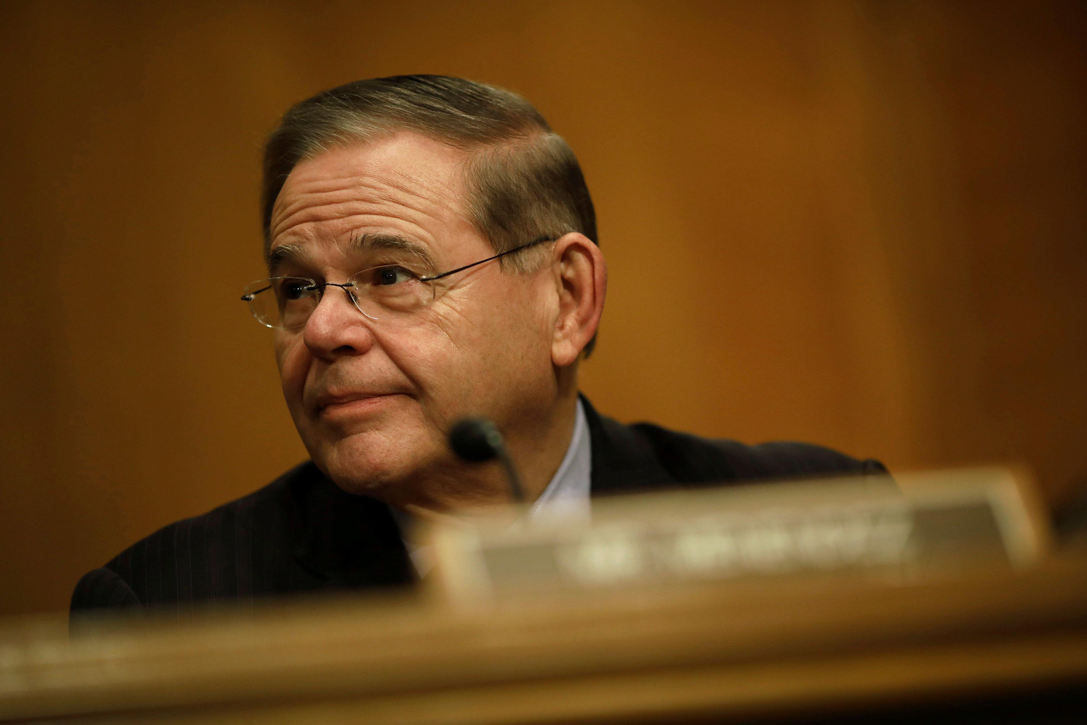 Sen. Bob Menendez (D-NJ) looks on during a Senate Banking Committee hearing on Capitol Hill in Washington, U.S. January 23, 2018. REUTERS/Aaron P. Bernstein