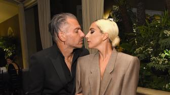 LOS ANGELES, CA - OCTOBER 15: Christian Carino (L) and Lady Gaga attend ELLE's 25th Annual Women In Hollywood Celebration presented by L'Oreal Paris, Hearts On Fire and CALVIN KLEIN at Four Seasons Hotel Los Angeles at Beverly Hills on October 15, 2018 in Los Angeles, California.  (Photo by Michael Kovac/Getty Images for ELLE Magazine)