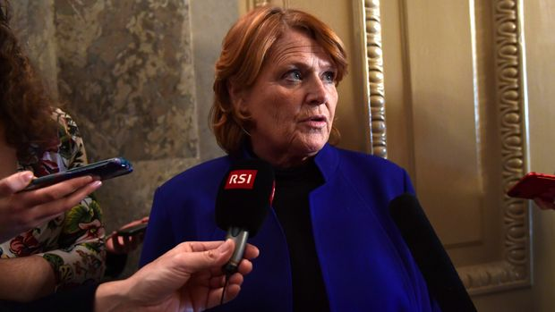 Sen. Heidi Heitkamp, D-N.D., talks with reporters on Capitol Hill in Washington, Monday, Jan. 22, 2018, after passage of a procedural vote aimed at reopening the government. (AP Photo/Susan Walsh)