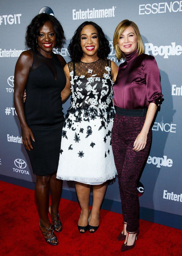 Viola Davis, Shonda Rhimes and Ellen Pompeo at a TGIT celebration.