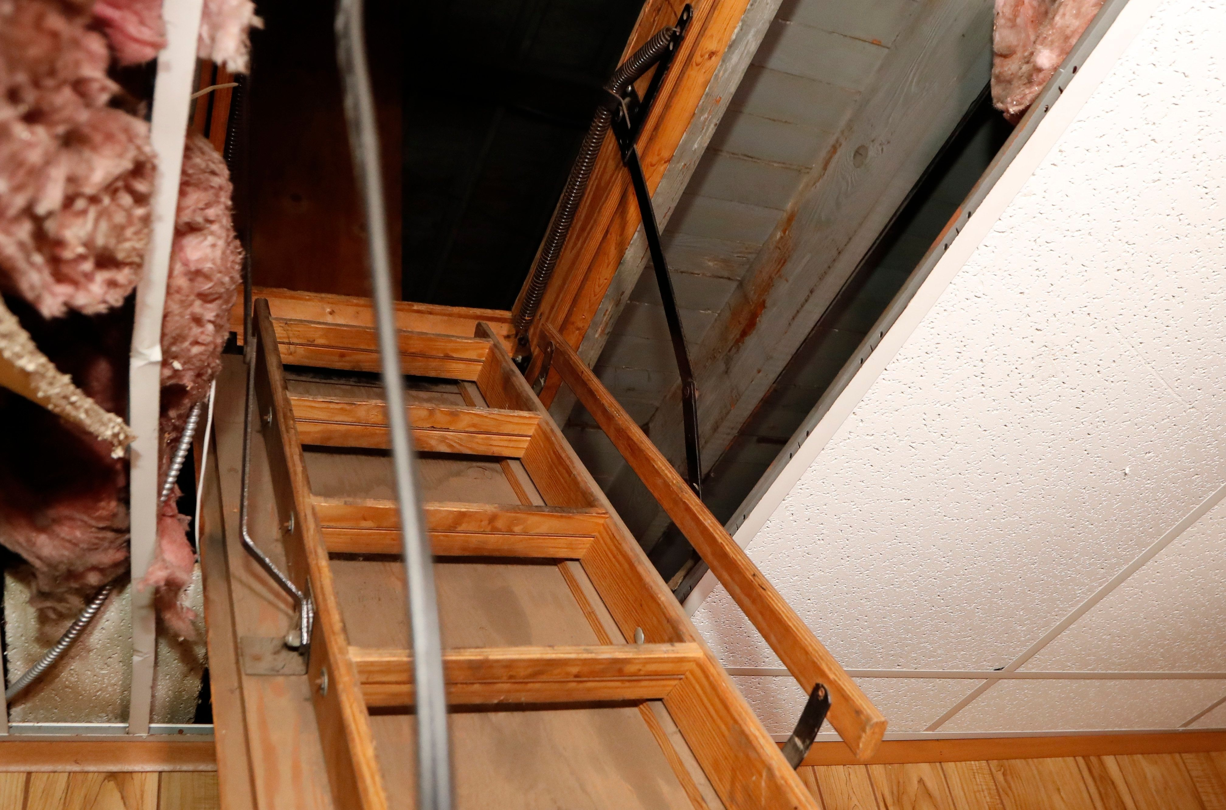 A small crawlspace near the top of the pull-down ladder at the former Cantrell Funeral Home, seen Monday, Oct. 15, 2018. (AP
