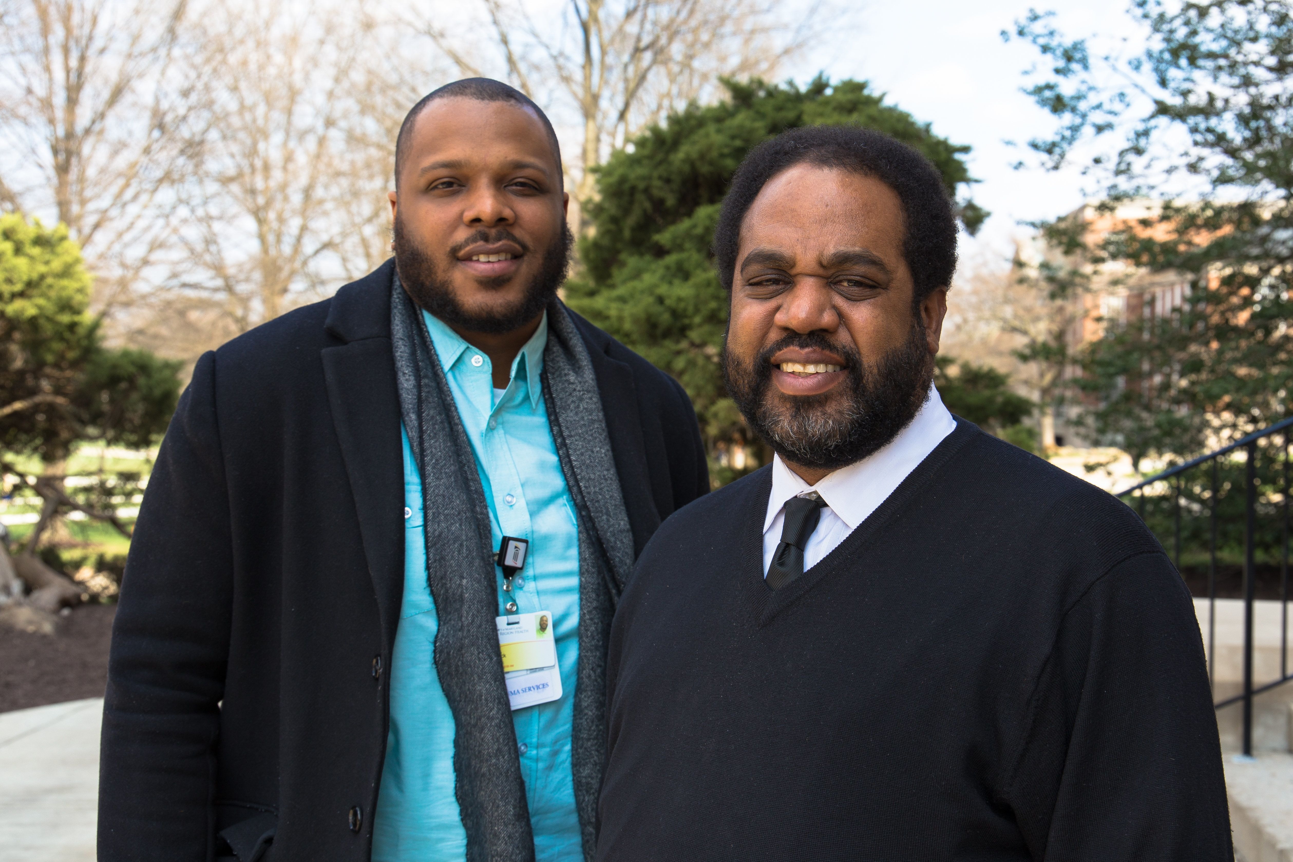 Che Bullock, left, and Joseph Richardson Jr. are helping patients find a path away from violence through their work at t