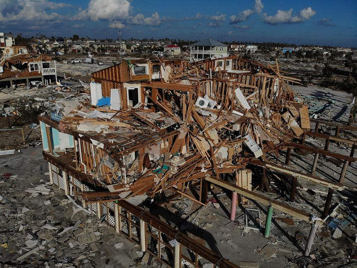 Devastation left in the wake of Hurricane Michael is shown from above on October 15, 2018 in Mexico Beach, Florida. (Photo by Joe Raedle/Getty Images)