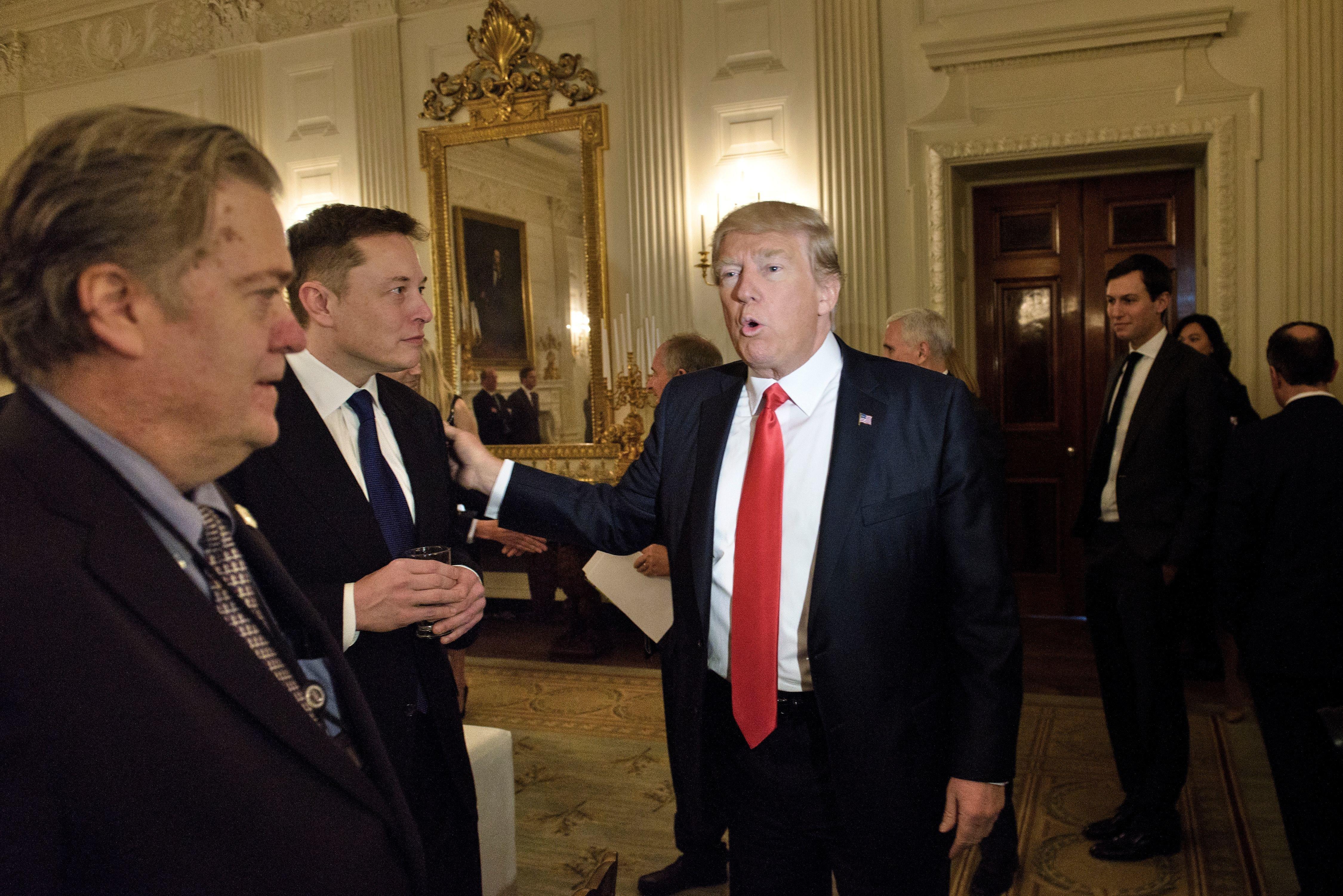 (From left) Steve Bannon, Elon Musk, President Donald Trump and Jared Kushner at the White House, Feb. 3, 2017.