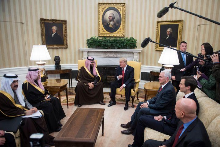 President Donald Trump meets with Saudi Defense Minister and Deputy Crown Prince Mohammed bin Salman bin Abdulaziz Al Saud in