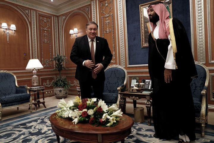 U.S. Secretary of State Mike Pompeo meets with the Saudi Crown Prince Mohammed bin Salman during his visits in Riyadh, Saudi