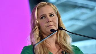 "Comedian Amy Schumer speaks at the 14th Annual ""#BlogHer18"" Creators Summit at Pier 17 in New York, NY, on August 8, 2018. (Photo by Anthony Behar/Sipa USA)"