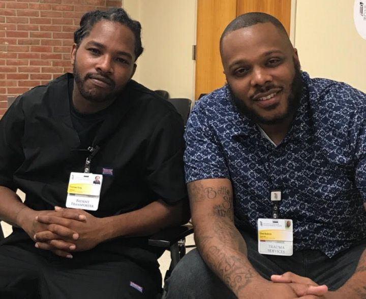 T.J. King, left, and Che Bullock at the Prince George's Hospital Center. Bullock helped recruit King into the Capital Region Violence Intervention Program after King was shot in 2017.
