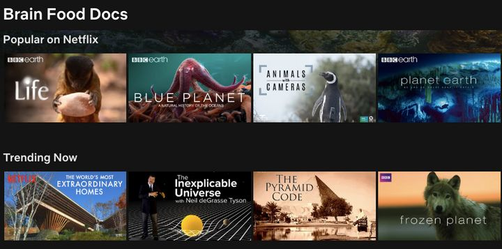 """Brain Food Docs"" on Netflix."