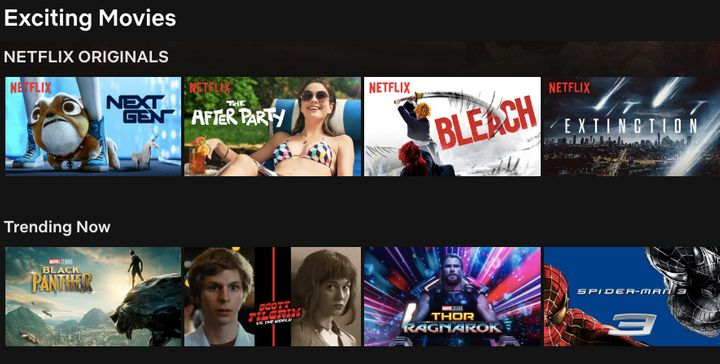 """Exciting Movies"" on Netflix."