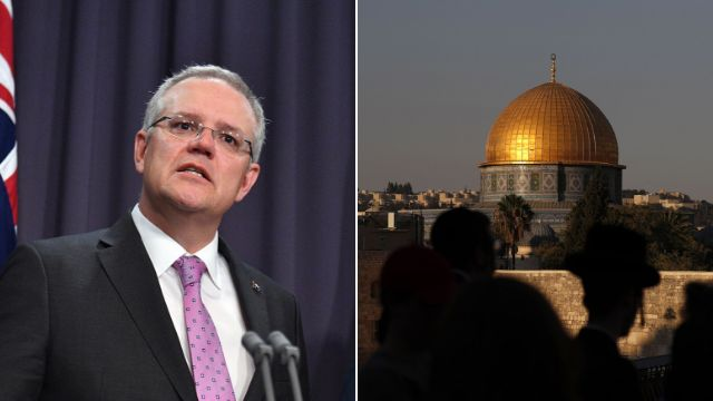 """Australian Prime Minister Scott Morrison said Australia is """"committed to a two-state solution, but frankly, it hasn't b"""