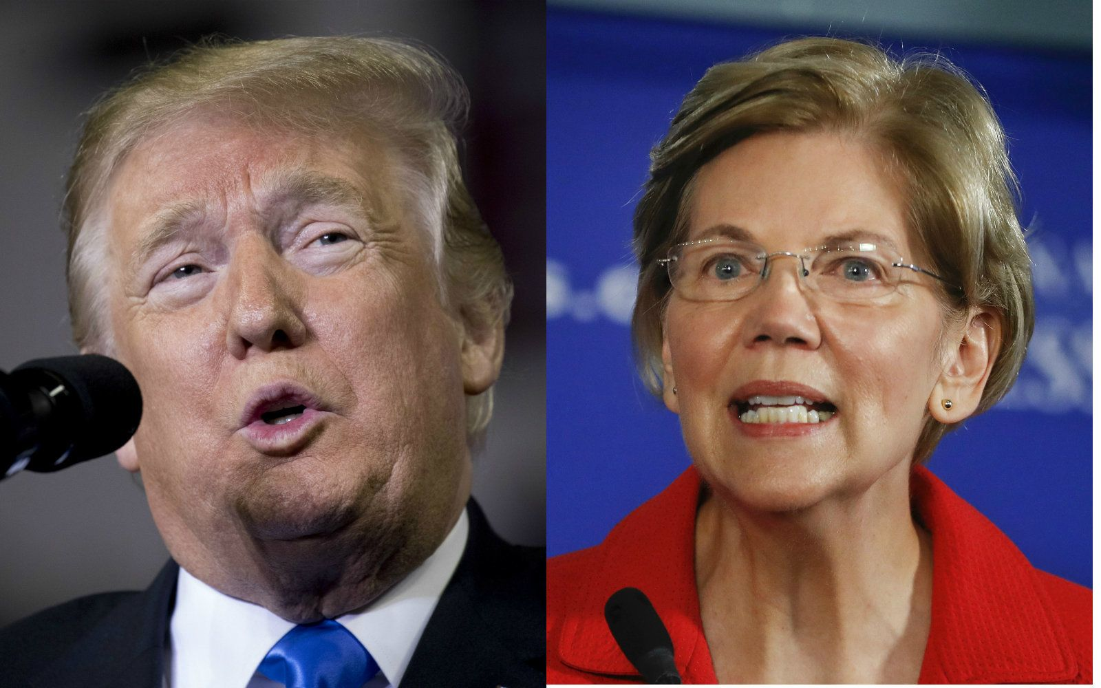 President Donald Trump and Massachusetts Senator Elizabeth Warren.