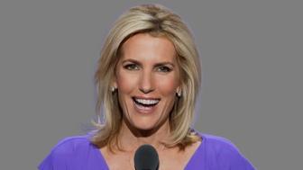 Laura Ingraham headshot, radio talk show host, graphic element on gray