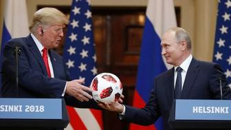 """<img alt=""""""""/><p>Surprise! That very innocent soccer ball Russian President Vladimir Putin gifted Donald Trump during their Helsinki summit last week (yes, that was just last week, folks) may not be so innocent.&#160;</p> <p><a rel=""""nofollow"""" href=""""https://www.bloomberg.com/news/articles/2018-07-25/putin-soccer-ball-for-trump-had-transmitter-chip-logo-indicates"""">Bloomberg is reporting</a> that the soccer ball may contain <a rel=""""nofollow"""" href=""""https://www.fifa.com/worldcup/news/adidas-football-reveals-official-match-ball-for-the-knockout-stage-of-the-2018-f"""">an embedded NFC</a> (Near Field Communication) chip.&#160;</p> <p>The ball, which <a rel=""""nofollow"""" href=""""https://www.adidas.com/us/b/soccer/telstar_18/faq.html"""">is produced by Adidas</a>, is typically embedded with a chip that allows it to communicate with nearby devices, such as phones and tablets. Once connected with a device, the chip allows fans to access &quot;exclusive information about the product, Adidas football content, special competitions and challenges, etc,&quot; according to Adidas.&#160;</p> <div><p>SEE ALSO: <a rel=""""nofollow"""" href=""""https://mashable.com/2018/07/17/trump-putin-summit-late-night-shows/?utm_campaign=Mash-BD-Synd-Yahoo-Watercooler-Full&#38;utm_cid=Mash-BD-Synd-Yahoo-Watercooler-Full"""">Trump-Putin press conference gets a roasting from late show hosts</a></p></div> <p><img alt=""""Mandatory Credit: Photo by Alexander Zemlianichenko/AP/REX/Shutterstock (9763104b) Donald Trump, Vladimir Putin. Russian President Vladimir Putin, right, gives a soccer ball to U.S. President Donald Trump, left, during a press conference after their meeting at the Presidential Palace in Helsinki, Finland Trump Putin Summit, Helsinki, Finland - 16 Jul 2018""""></p> <div><p>Image:  Alexander Zemlianichenko/AP/REX/Shutterstock</p></div><p>While it&#39;s unclear if this exact ball contained the chip or was tampered with by the Russians in any way, photos from the event clearly show the chip&#39;s logo, which is where i"""