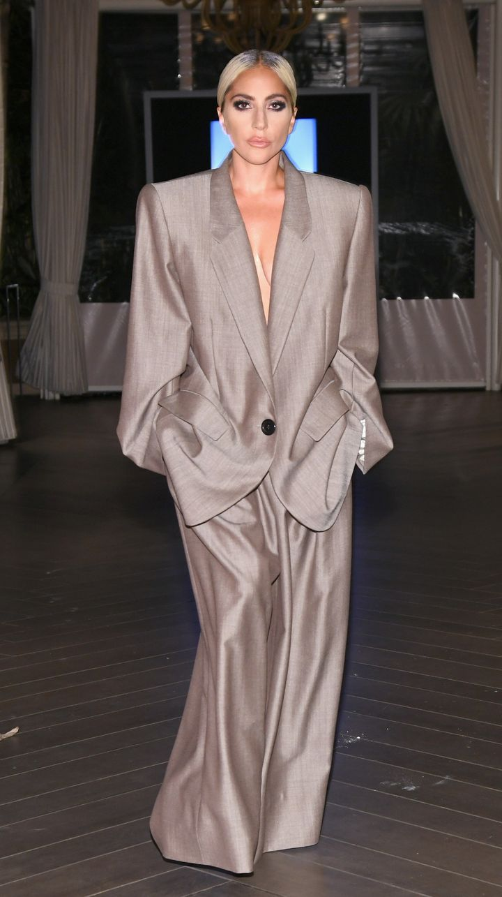 Lady Gaga in her oversized Marc Jacobs pantsuit.