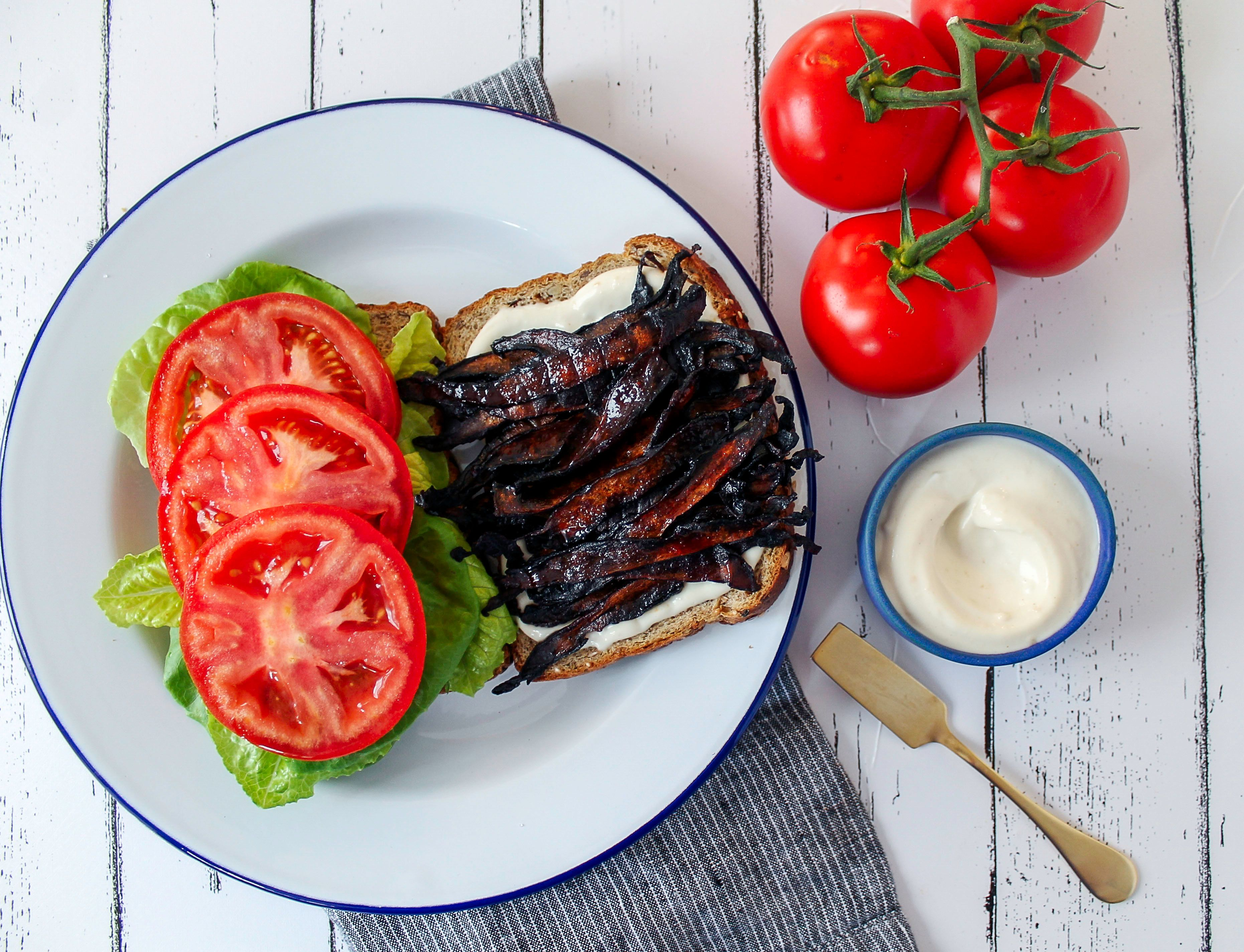This vegan BLT uses specially prepared mushrooms that stand in for the bacon.