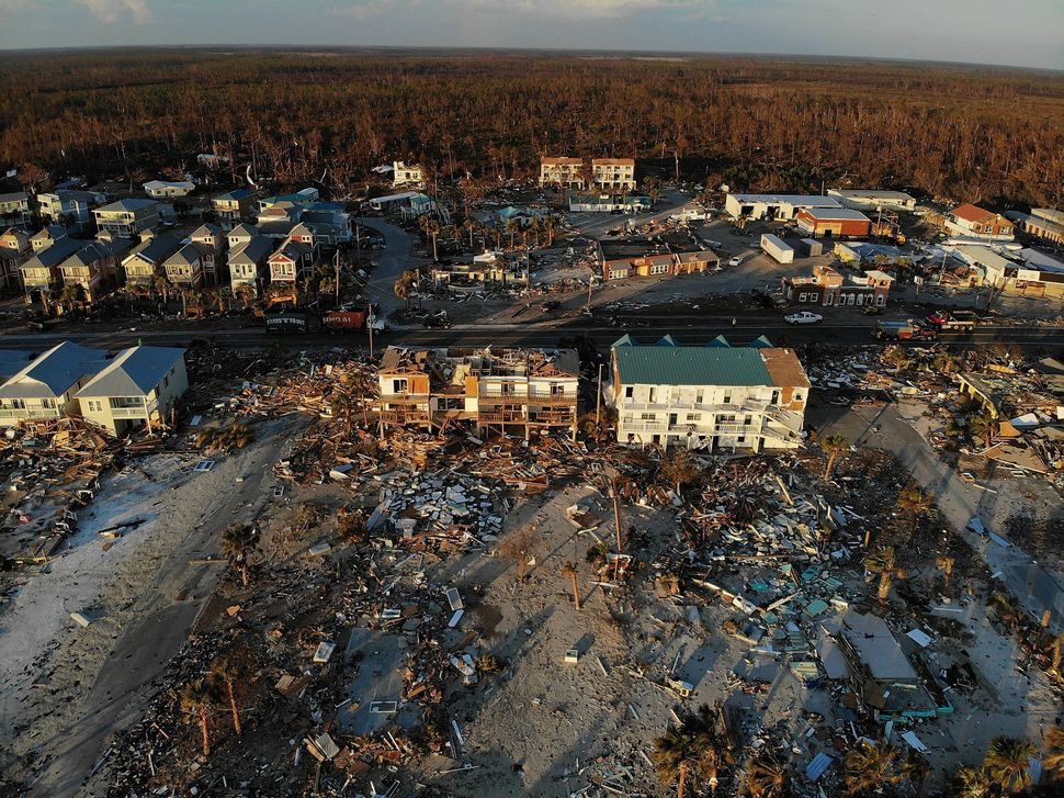 An aerial view of the damage in Mexico Beach, Florida.