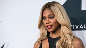 Laverne Cox arrives at Tribeca Talks: The Journey, Inspired by TUMI, with Rosario Dawson during the Tribeca TV Festival at Spring Studios on Saturday, Sept. 22, 2018, in New York. (Photo by Christopher Smith/Invision/AP)