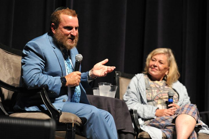 Rabbi Shmuley Boteach and Roseanne Barr appear together in Beverly Hills, California, on Sept. 17.