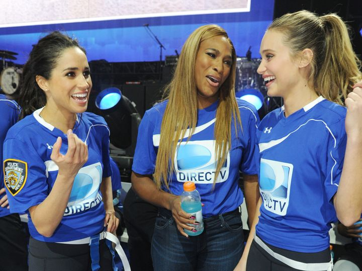 Meghan Markle, Serena Williams and Hannah Davis participate in the DirecTV Beach Bowl on Feb. 1, 2014, in New York City.