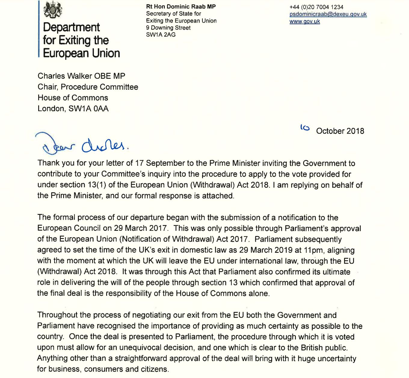 Dexeu               The letter from Dominic Raab