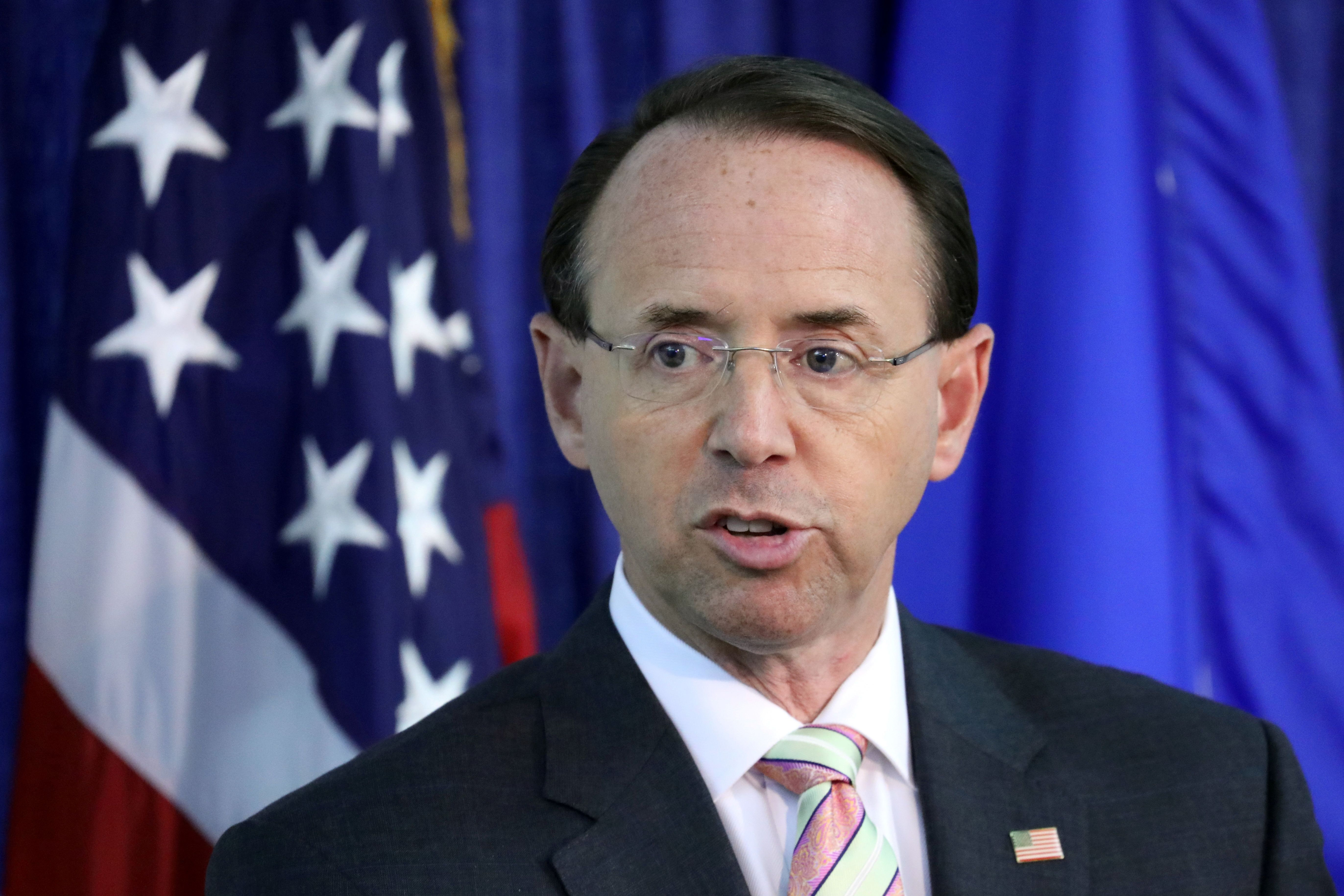 """Deputy U.S. Attorney General Rod Rosenstein speaks during the Bureau of Justice Assistance's rollout for the """"Fentanyl: The Real Deal"""" training video in Washington, U.S., August 30, 2018. REUTERS/Chris Wattie"""