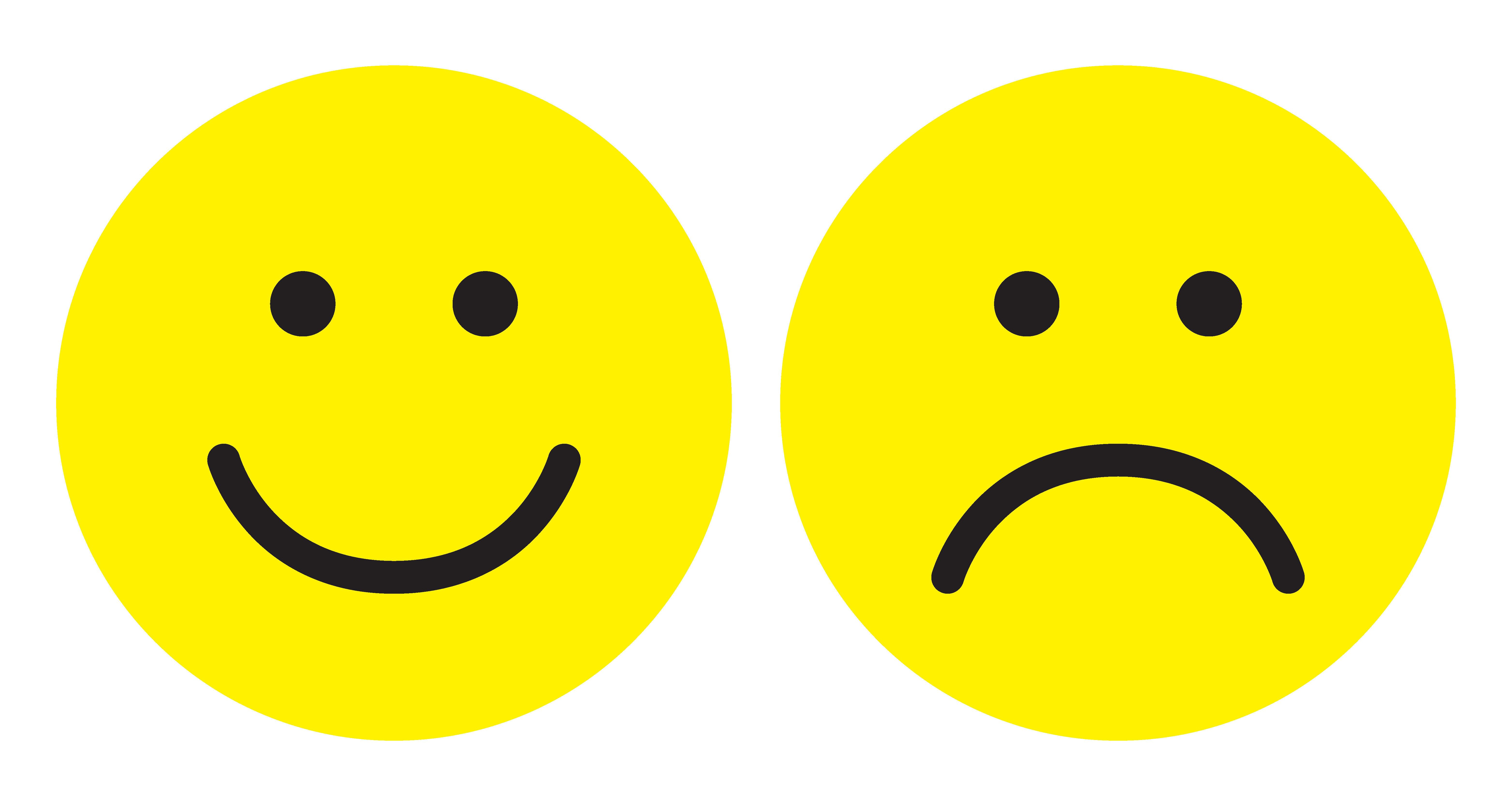 Happy and sad face icons. Smiley. Face symbols. Flat stile. Black and white vector illustration.