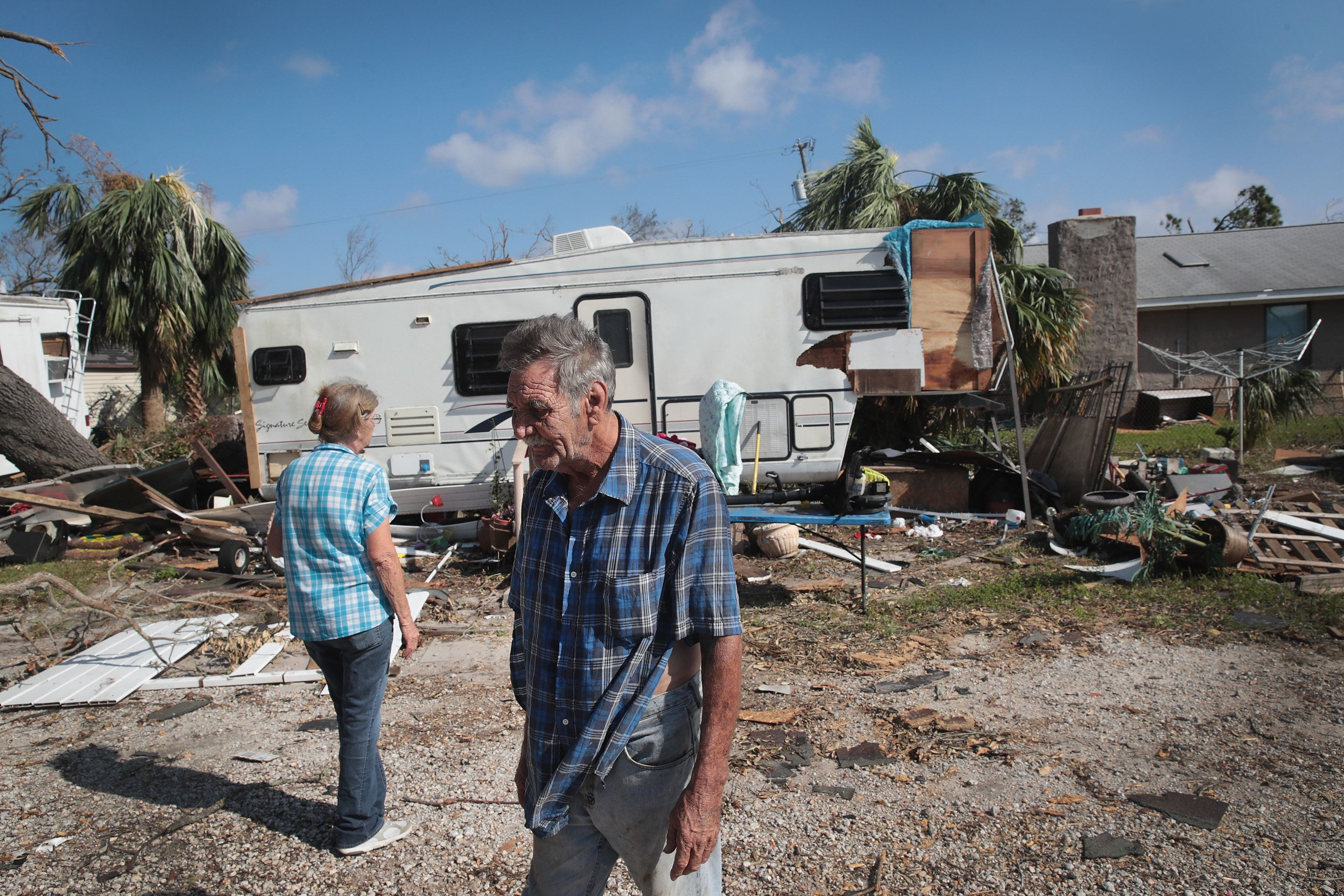 PANAMA CITY, FL - OCTOBER 14: Willie and Patsy Burton continue to recover after Hurricane Michael damaged the RV where they lived on October 15, 2018 in Panama City, Florida. Hurricane Michael slammed into the Florida Panhandle on October 10, as a category 4 storm causing massive damage and claiming more that 15 lives.  (Photo by Scott Olson/Getty Images)