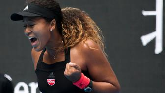 BEIJING, CHINA - OCTOBER 05:  Naomi Osaka of Japan celebrates during her Women's Singles Quarterfinals match against Zhang Shuai of China in the 2018 China Open at the China National Tennis Center on October 5, 2018 in Beijing, China.  (Photo by Xinyu Cui/Getty Images)