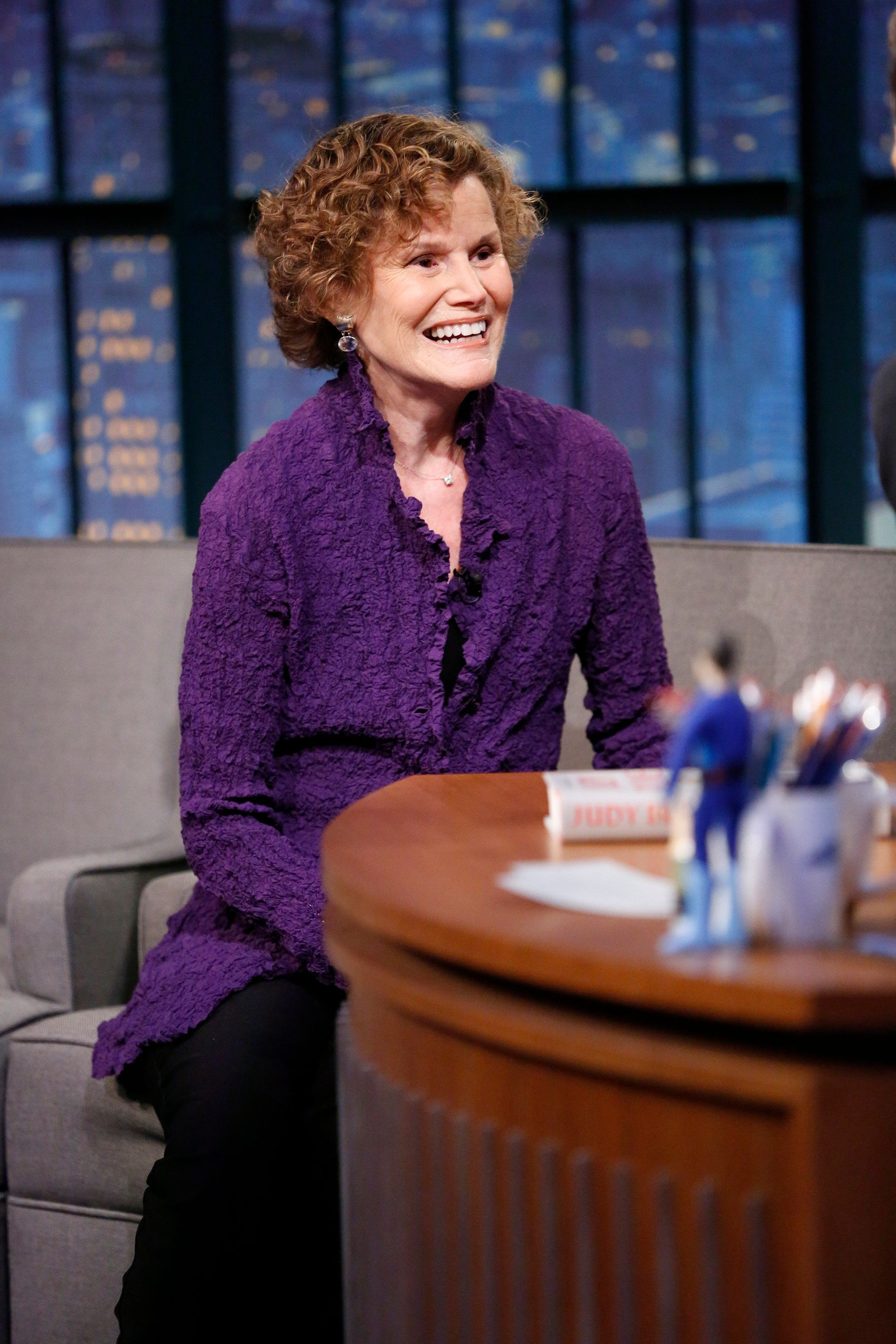 "Author Judy Blume on ""Late Night With Seth Meyers"" in 2015. She has sold the film rights to her 1970 book <i>Are You The"