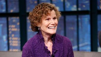 LATE NIGHT WITH SETH MEYERS -- Episode 260 -- Pictured: Author Judy Blume during an interview on September 18, 2015 -- (Photo by: Lloyd Bishop/NBC/NBCU Photo Bank via Getty Images)