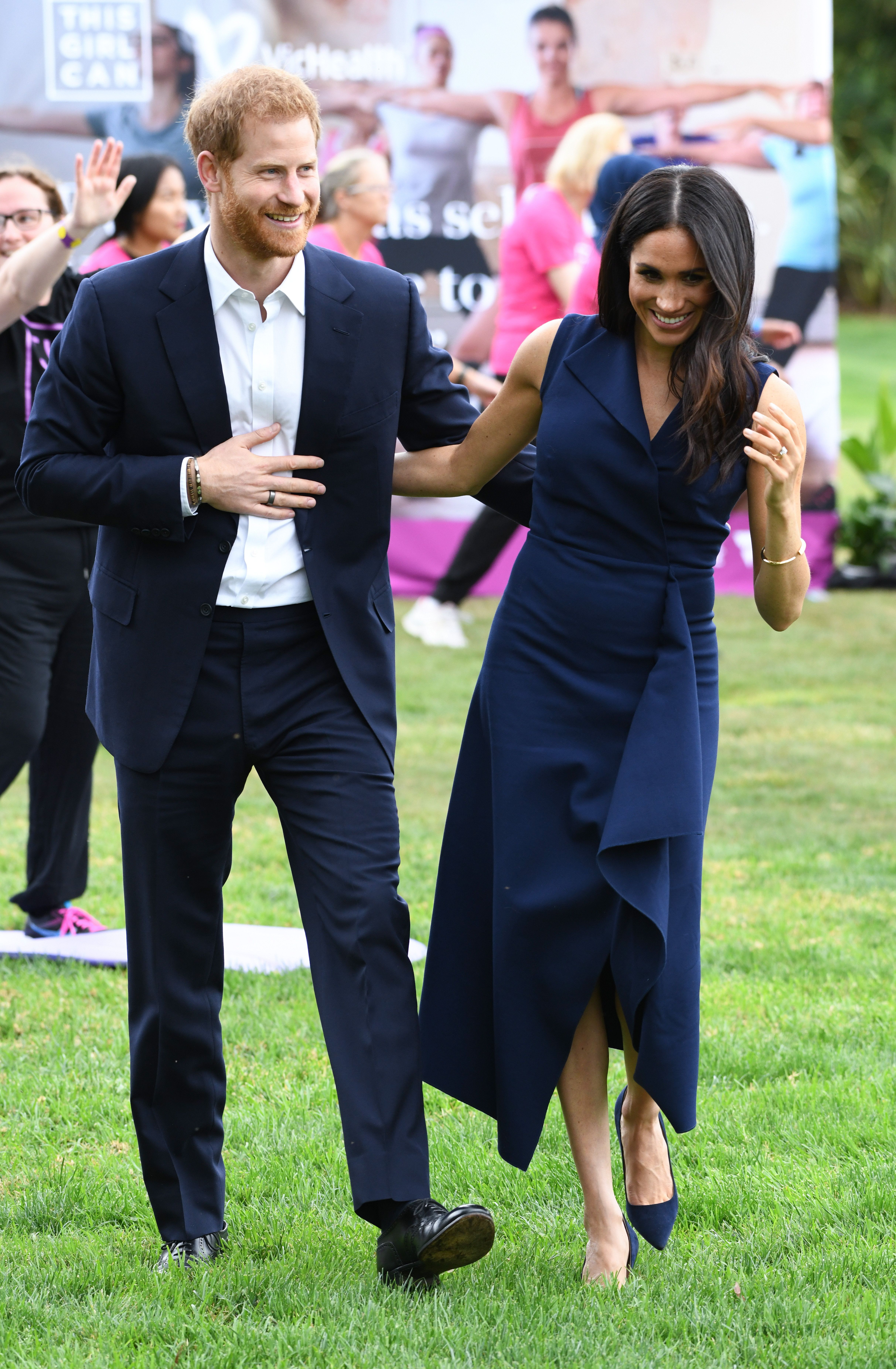 Prince Harry Duke of Sussex and Meghan Duchess of Sussex at the Government House Receptionand to watch a demonstration by the This Girl Can campaign, Melbourne, Australia. Photo credit should read: Doug Peters/EMPICS