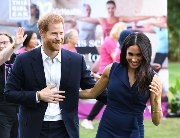 The Duke and the Duchess of Sussex during his tour of Australia. & Nbsp;