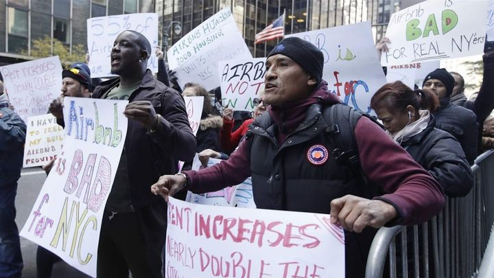 Protesters gather in New York City, which joined the crackdown on short-term rentals to protect affordable housing for long-t