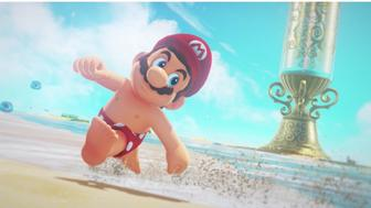 "A shirtless Mario shows off his nipples in the Nintendo game ""Super Mario: Odyssey."""