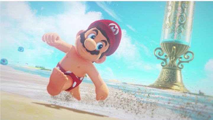 Mario, nipples to the wind.