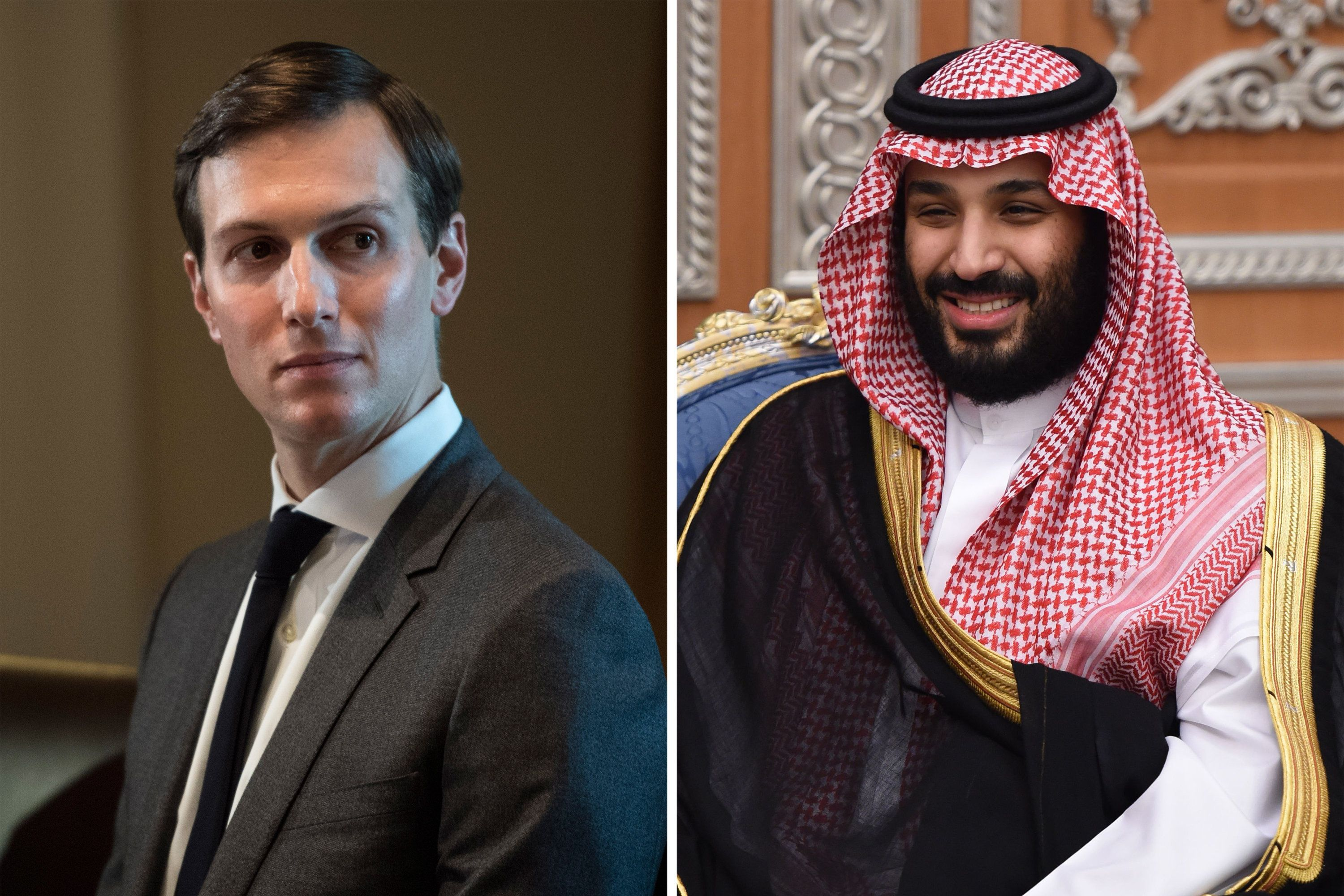 White House Senior Adviser Jared Kushner during a meeting in the Cabinet Room at the White House in Washington, DC on Monday, Oct. 23, 2017. Right: Saudi Crown Prince Mohammed bin Salman attends a meeting with Lebanon's Christian Maronite patriarch on November 14, 2017, in Riyadh, Saudi Arabia. (Photos by Jabin Botsford/The Washington Post via Getty Images; Fayez Nureldine/AFP/Getty Images)